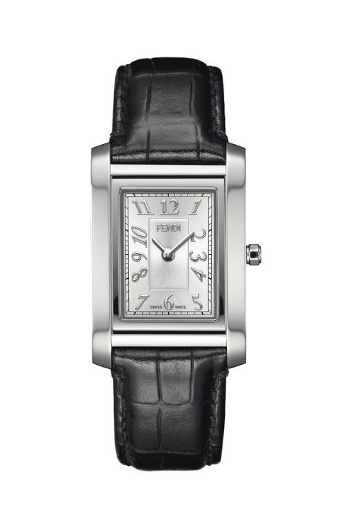 FENDI 'Loop-Medium' Rectangular Leather Strap Watch $550